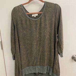 Umgee + Plus XL Army Green Hi Lo Distressed Shirt
